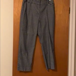 Navy and white pinstriped cropped pants